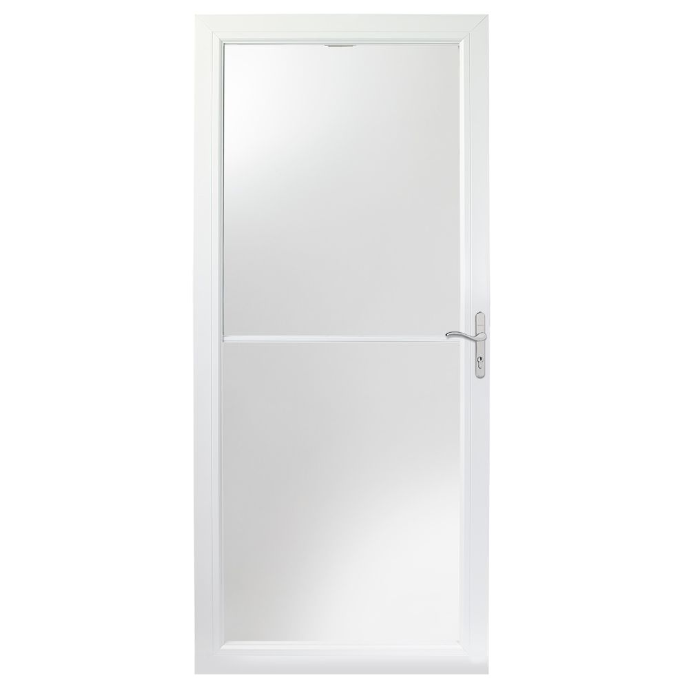 Andersen 34-inch 2500 Series White Self-Storing Storm Door with Nickel Hardware