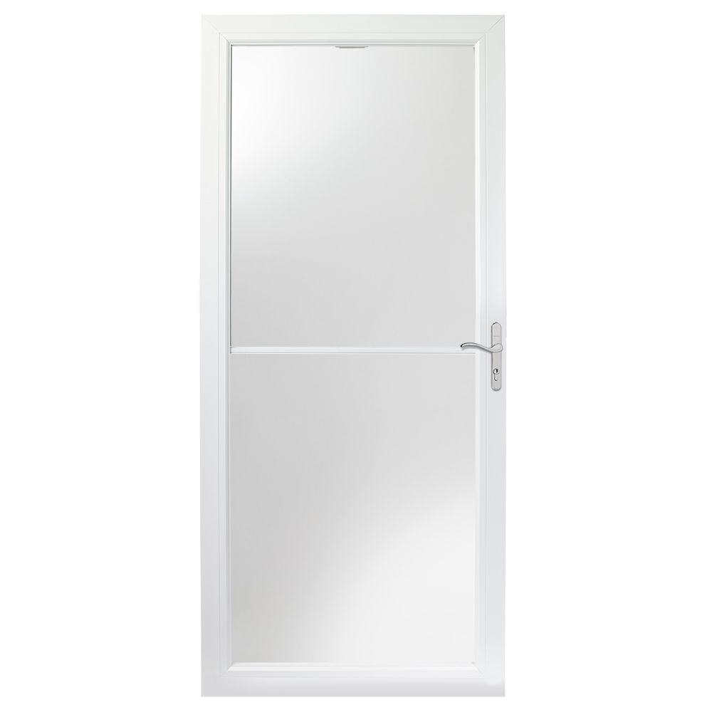 36-inch 2500 Series White Self-Storing Storm Door with Nickel Hardware