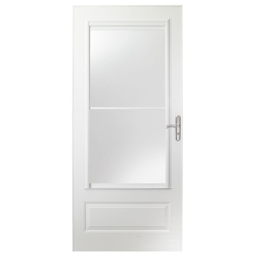 EMCO 36-inch 400 Series White Retractable Screen Door with Nickel Hardware