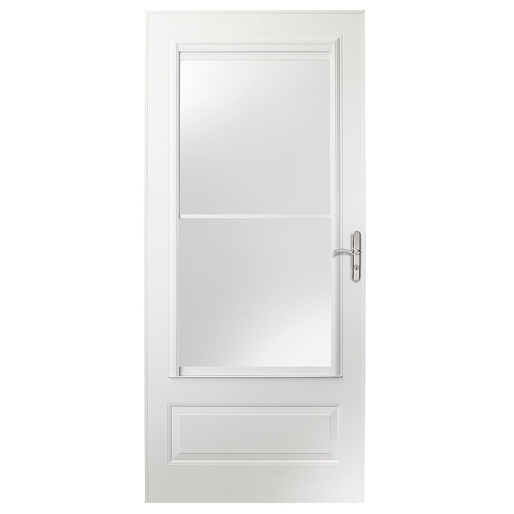 EMCO 400 Series 36-inch Screen Door in White with Nickel Hardware