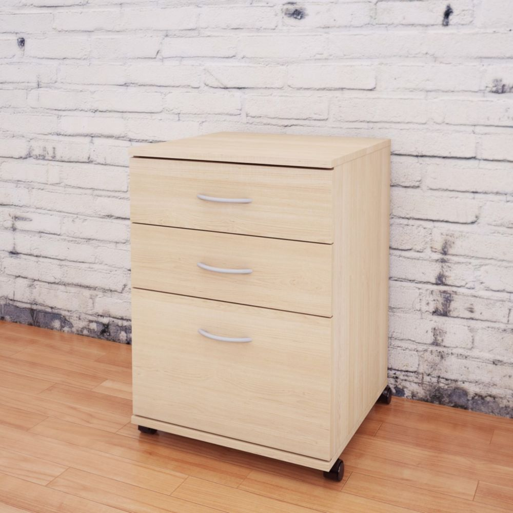 Essentials 3-Drawer Mobile File  - Natural Maple