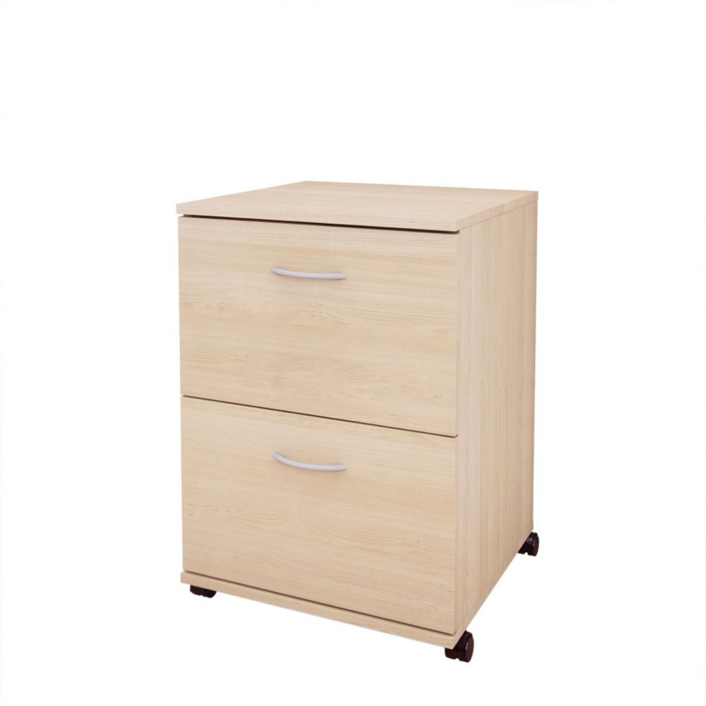 Essentials 2-Drawer Mobile File  - Natural Maple