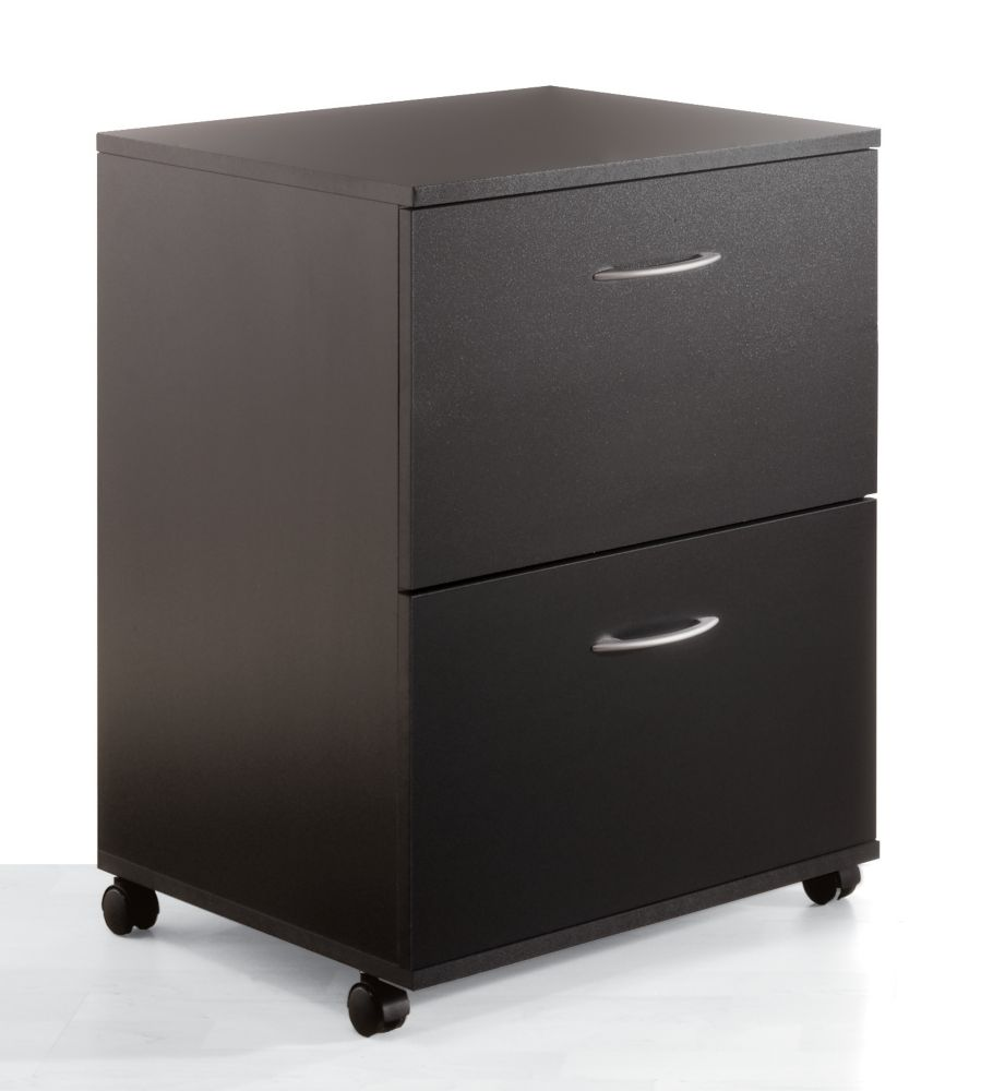 Nexera Essentials Essentials 26.6-inch x 18.6-inch x 17.6-inch 2-Drawer Wheeled File Cabinet in Black