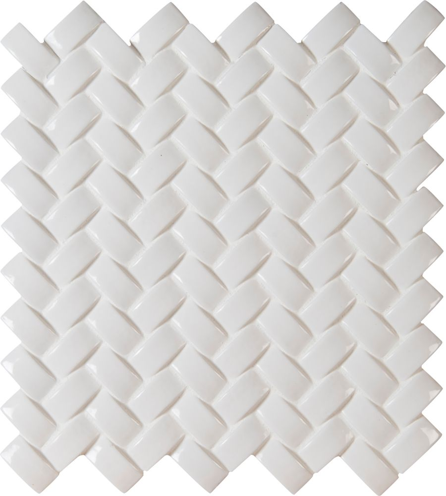 Whisper White Arched Herringbone 12 in. x 12 in. x 8 mm Glazed Ceramic Mesh-Mounted Mosaic Wall T...