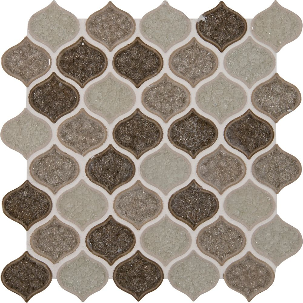 12-inch x 12-inch x 8 mm Glass Mesh-Mounted Mosaic Blend Tile in Taza