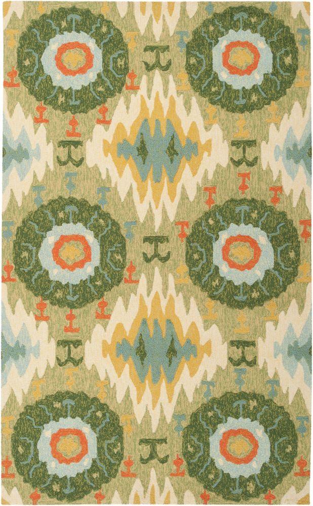 Artistic Weavers Estigarbia Green 8 ft. x 10 ft. 6-inch Indoor/Outdoor Transitional Rectangular Area Rug