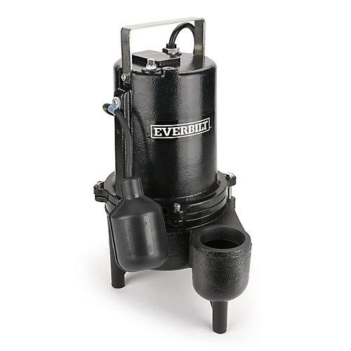 Pompe à eaux usées, Heavy Duty, 9910GPH, 6 / 10HP, Fonte, Grand Angle on / off