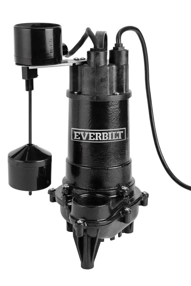 Pompe de puisard submersible, 4400GPH, 1 / 2HP, Fonte, vertical on / off