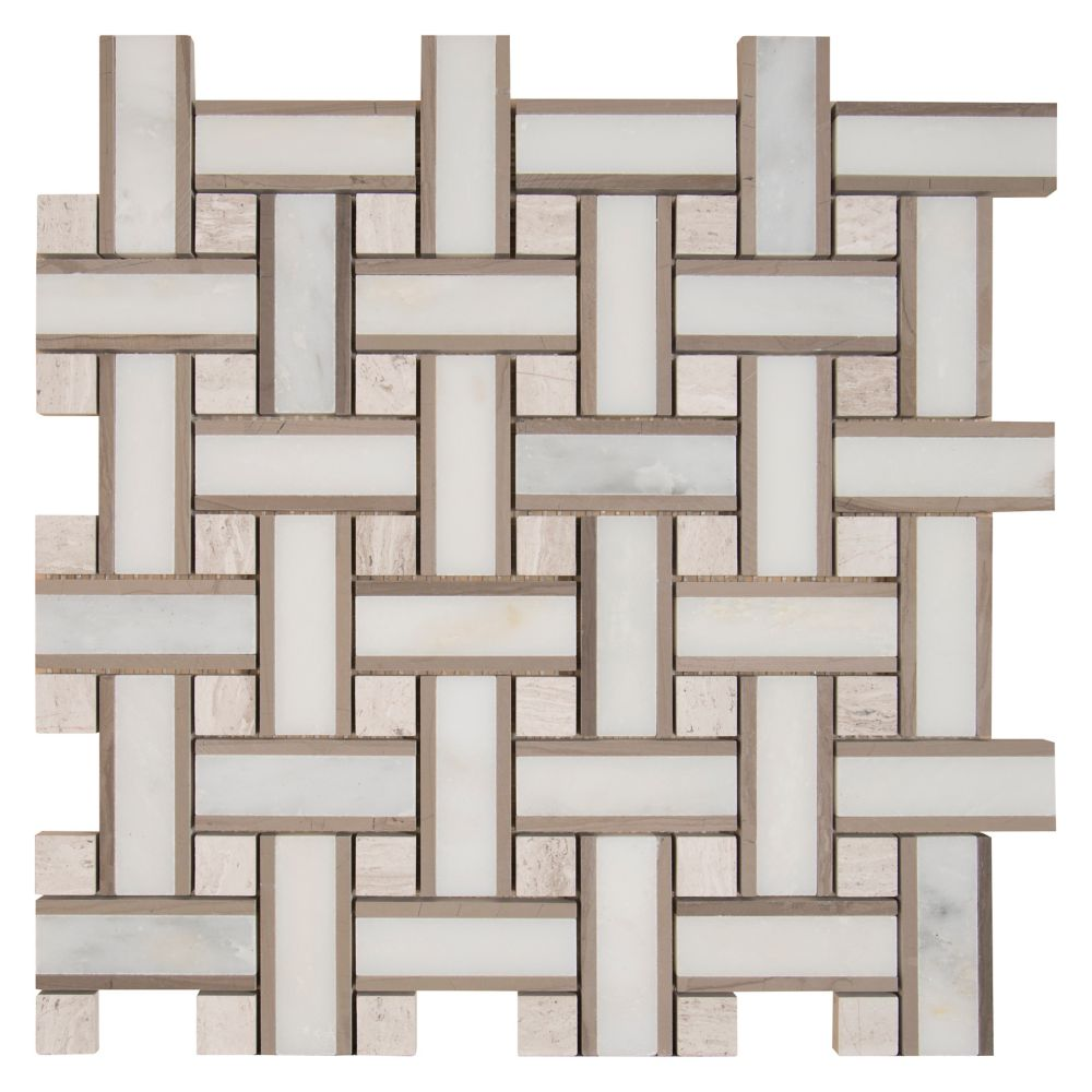 12-Inch x 12-Inch x 10 mm Marble Mesh-Mounted Mosaic Floor and Wall Tile in Renaissance