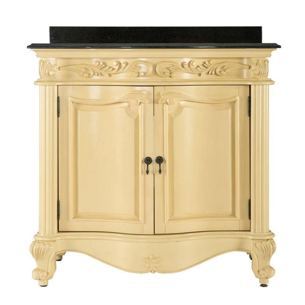 Foremost Estates 36 Inch W Vanity Combo In Antique White Finish With Granite Top In Black The