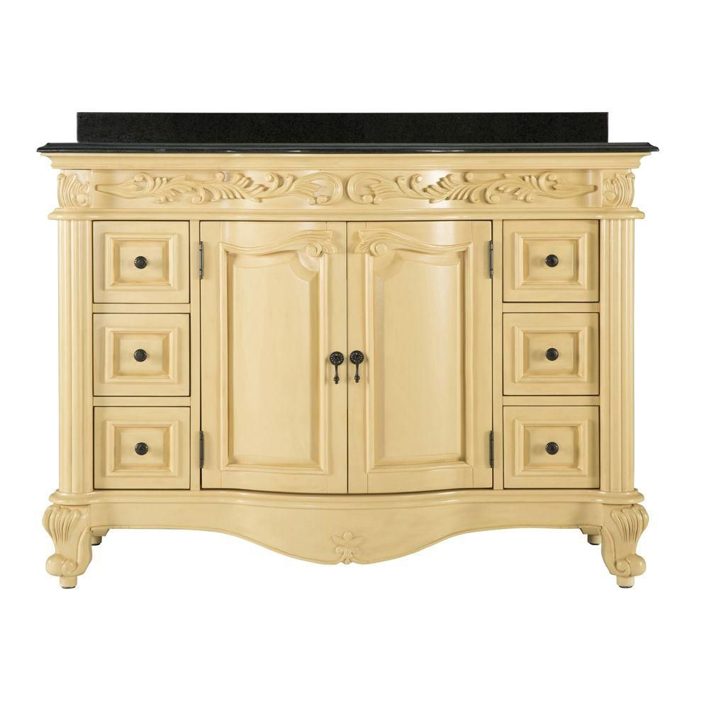 Estates 48-inch W Vanity in Antique White with Granite Top in Black