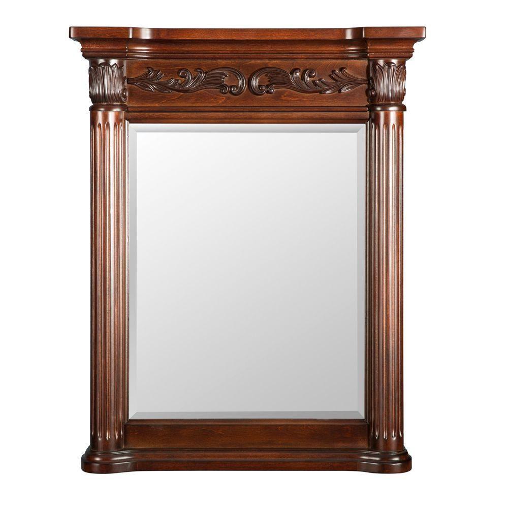 Foremost Estates 28-inch W x 34-inch L Wall Mirror in Rich Mahogany