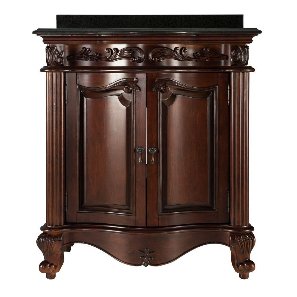 foremost estates 31 inch vanity in rich mahogany with granite vanity top in black the home. Black Bedroom Furniture Sets. Home Design Ideas