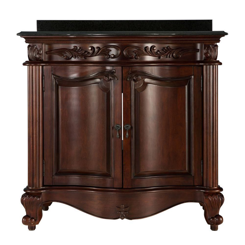 Estates 36-inch W Vanity Combo in Rich Mahogany Finish with Granite Top in Black