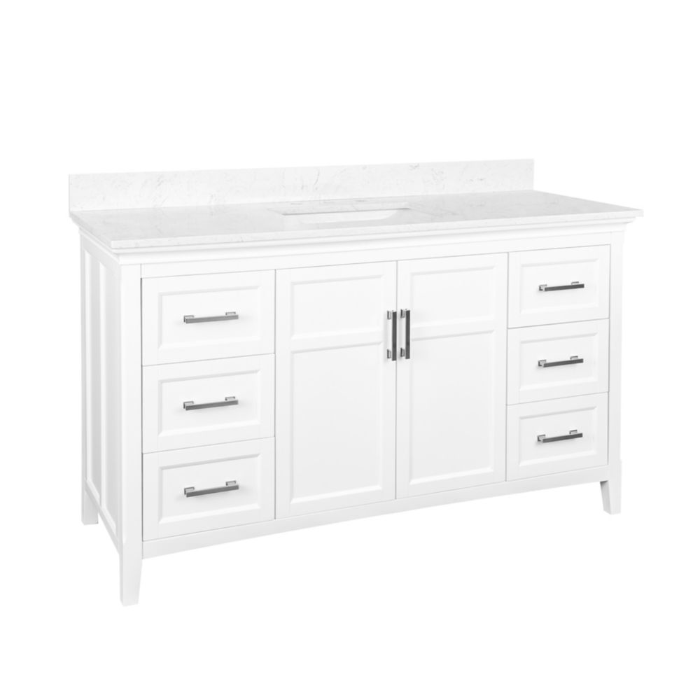 Abbott 58-inch W Vanity Combo in White Finish with Marble Top in Carrara White