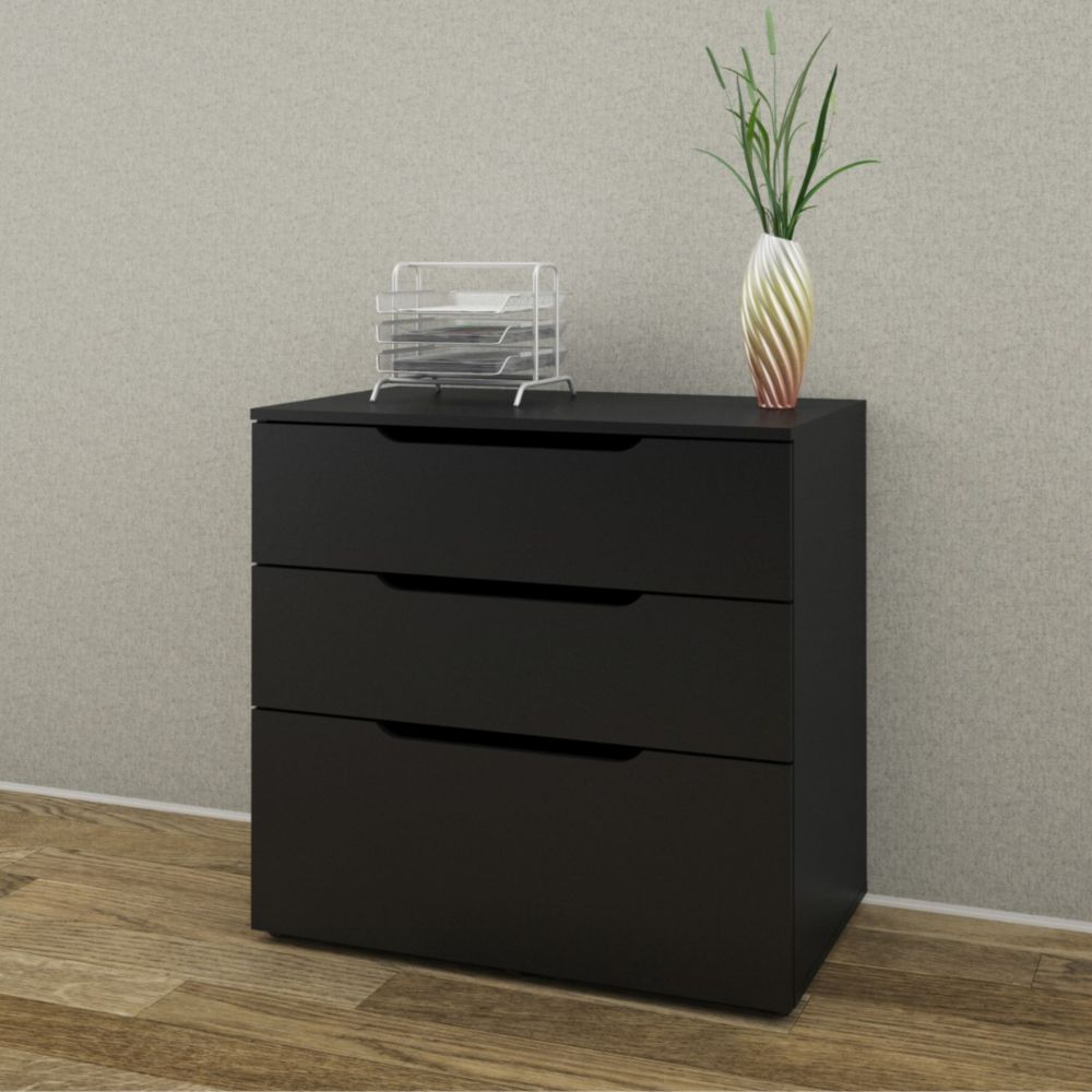 Next 31.75-inch x 30.75-inch x 19.25-inch 3-Drawer Manufactured Wood Filing Cabinet in Black