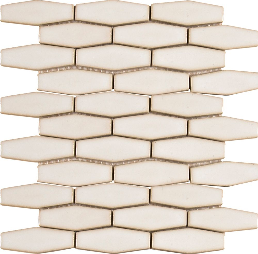 Antique White Elongated Hexagon 12 in. x 12 in. Glazed Ceramic Mesh-Mounted Mosaic Wall Tile