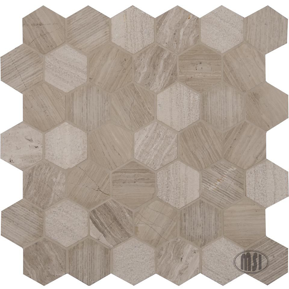 12-Inch x 12-Inch x 10 mm Natural Marble Mesh-Mounted Hexagon Mosaic Floor/Wall Tile in Honeycomb