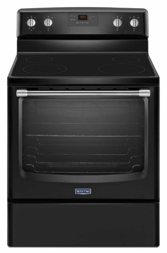6.2 cu. ft. Electric Free-Standing Range with Stainless Steel Handles in Black