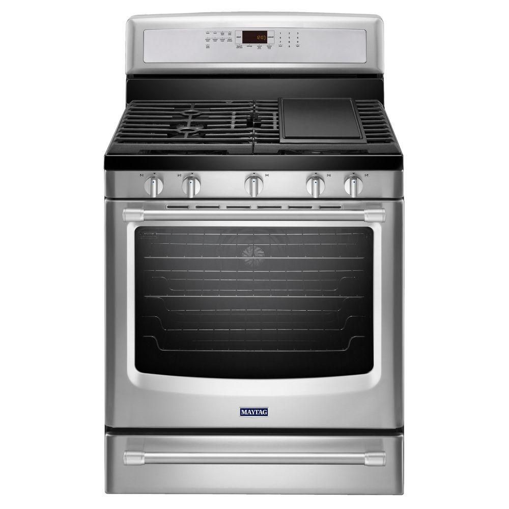 5.8 cu. ft. Free-Standing Gas Range with Griddle in Stainless Steel