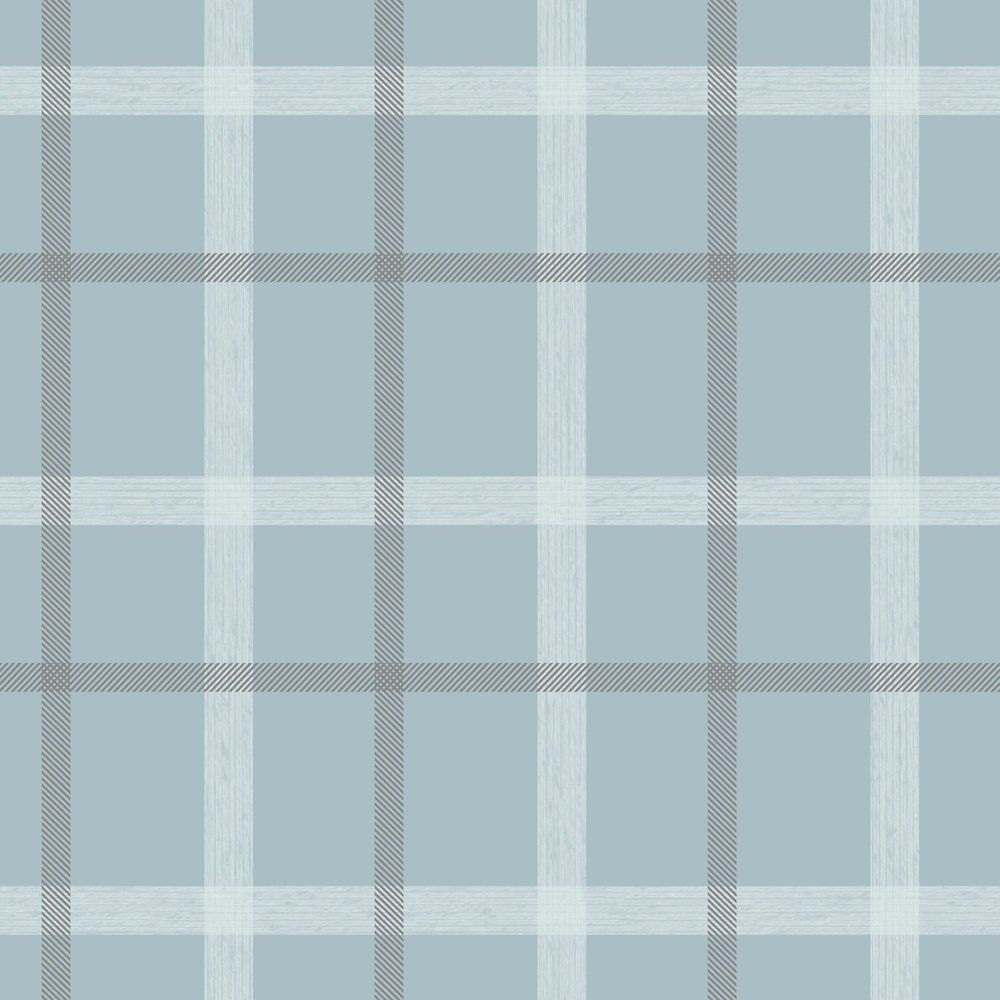 Plaid Blue/Cream Wallpaper