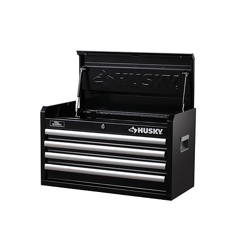 HUSKY 26-inch W 4-Drawer Tool Storage Chest in Black