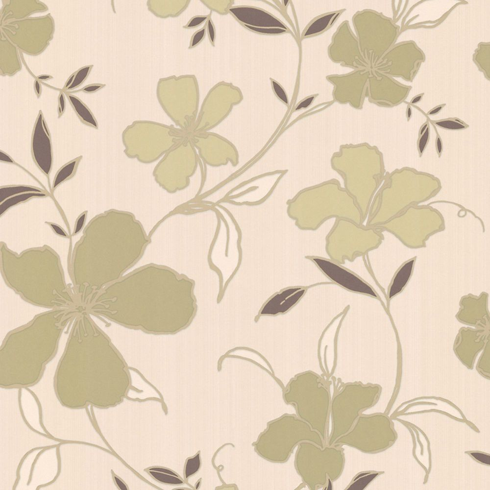 Rapture Green/Brown/Cream Wallpaper