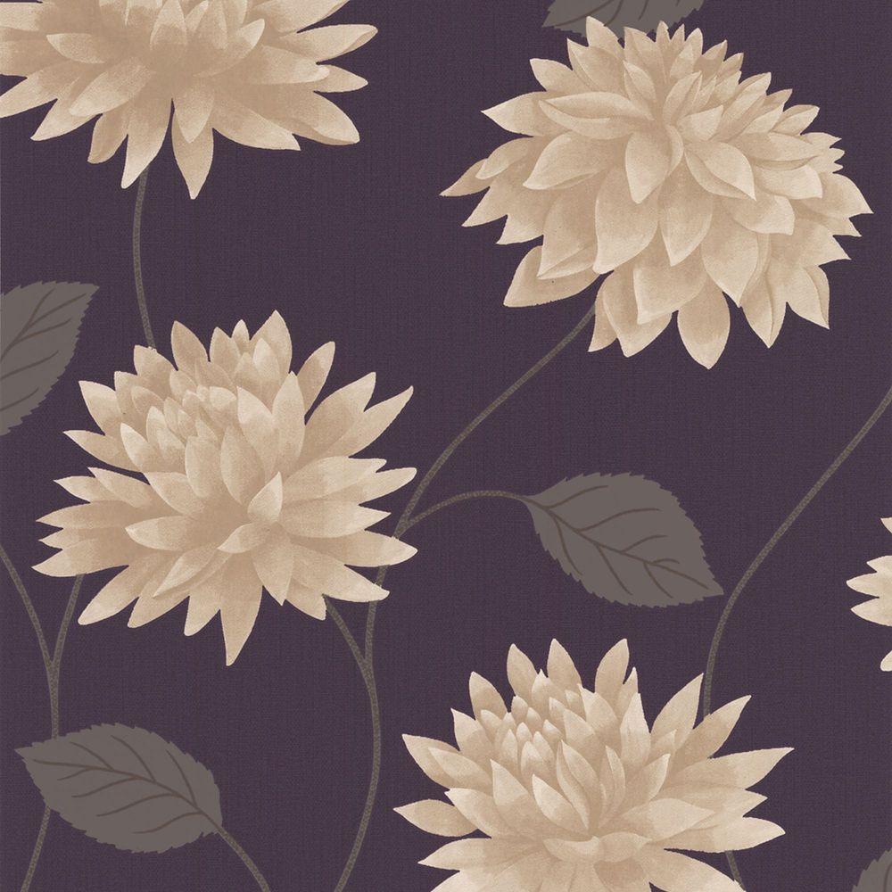 Romance Purple/Cream Wallpaper