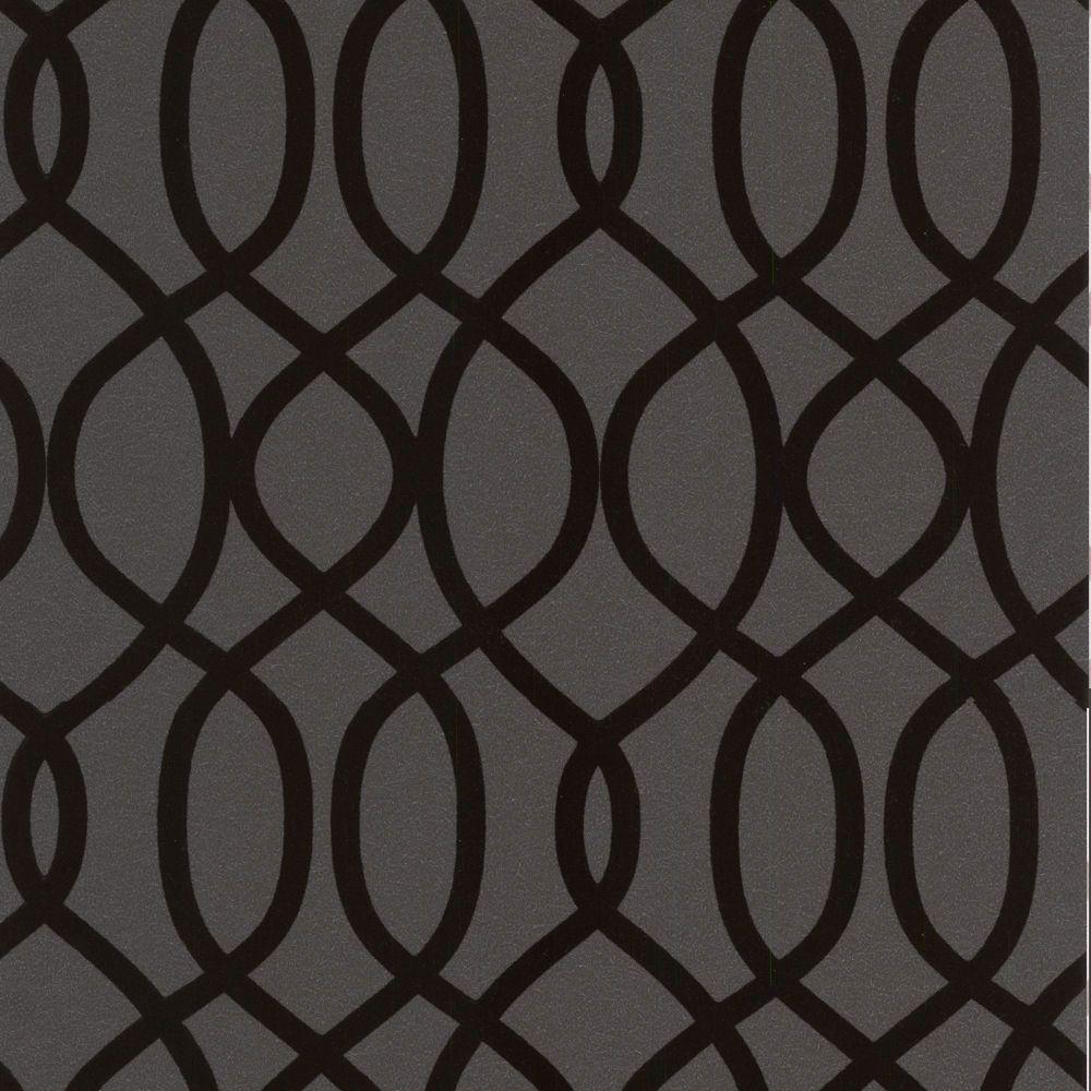 Knightsbridge Flock Black Wallpaper