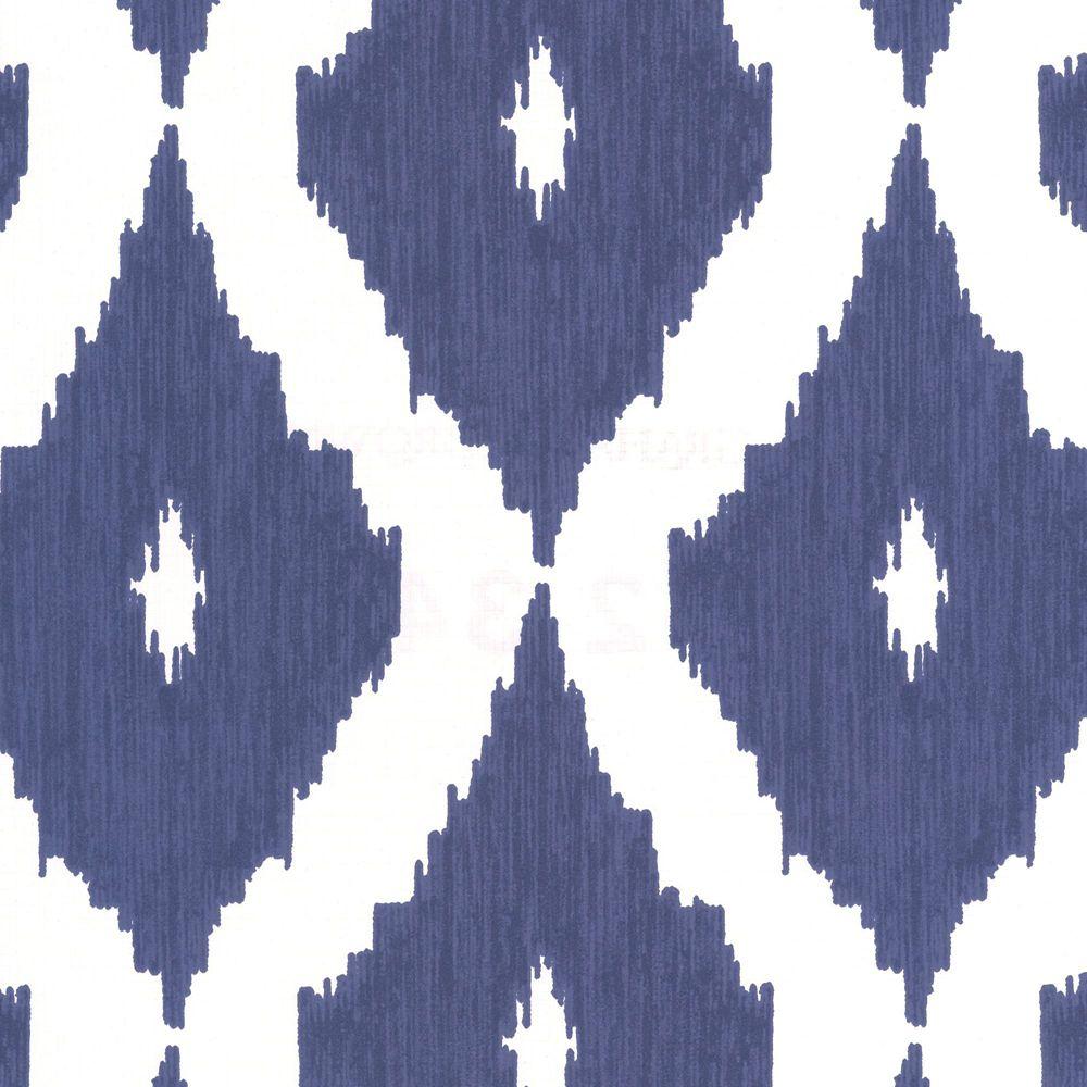 Kellys Ikat Blue/White Wallpaper
