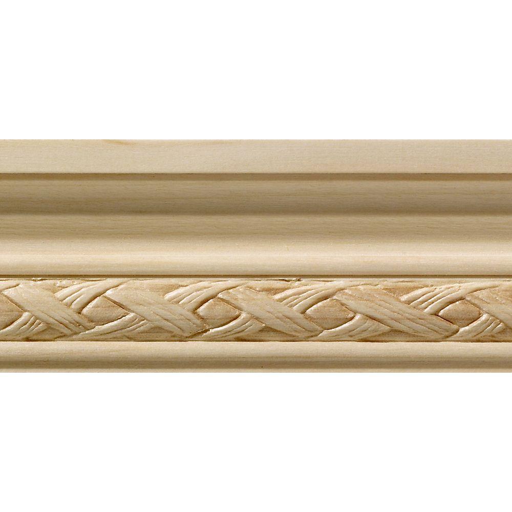 Blanche en bois dur, Tressage lâche petite cimaise - 1/2 X 1-3/4 po - vendu par pièce de 2,44 m