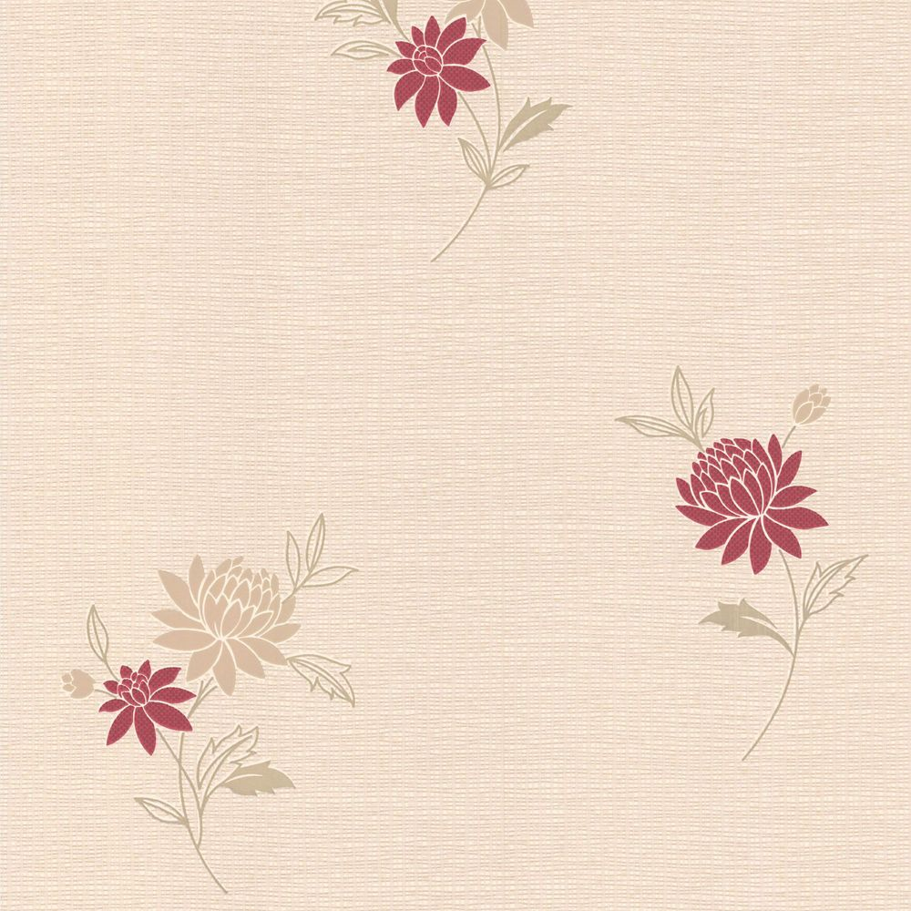 Rosalyn Red/Cream Wallpaper