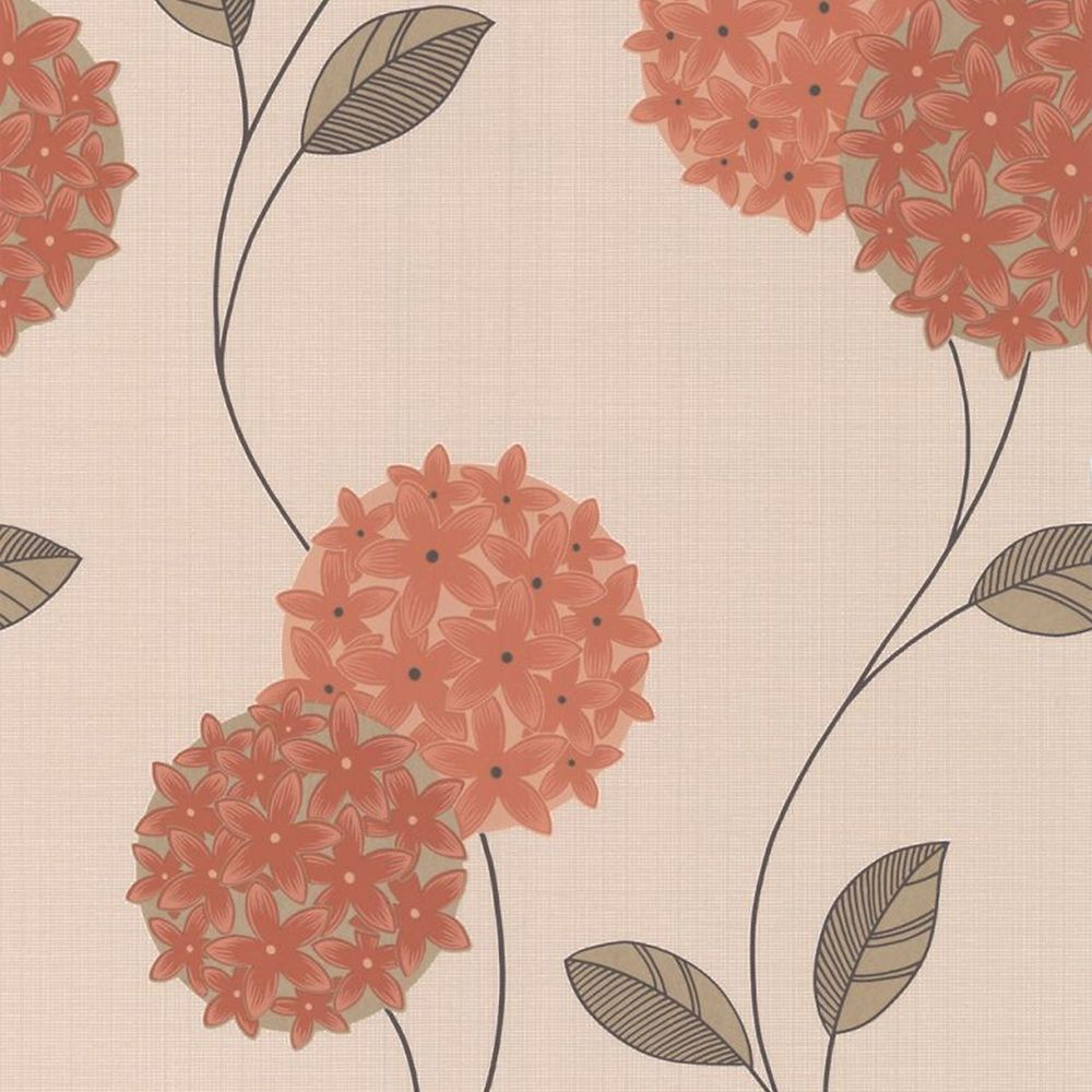 Pippa Orange/Cream Wallpaper