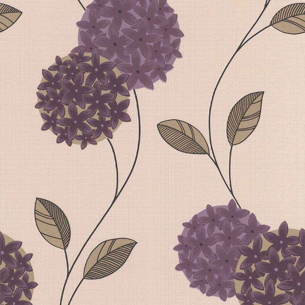 Pippa Purple/Cream Wallpaper
