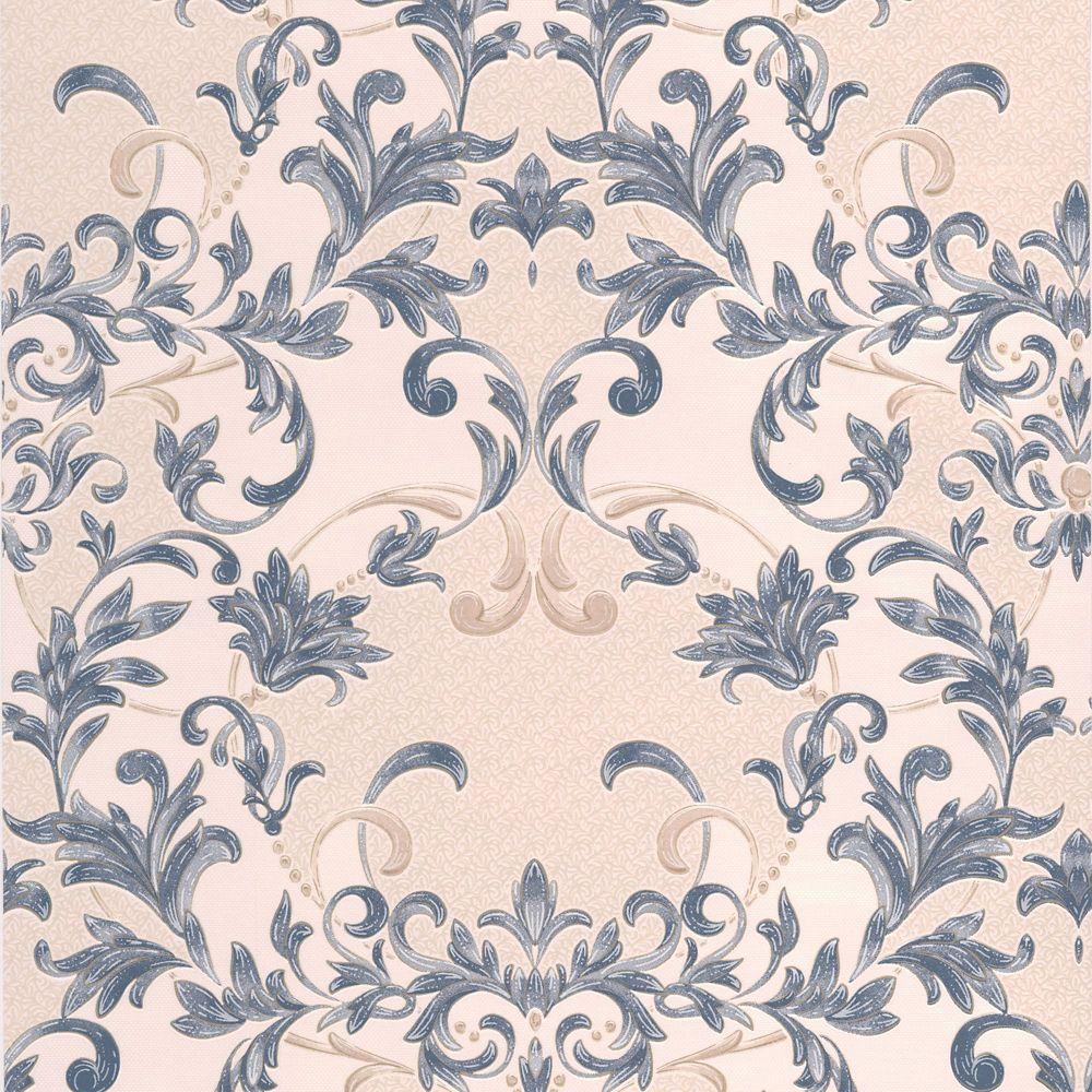 Abigail Blue/Beige Wallpaper
