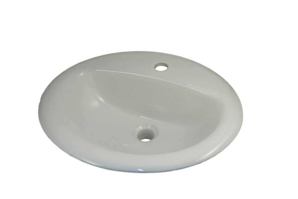 Oval D-Bowl Drop-In Sink with Single Hole Installation