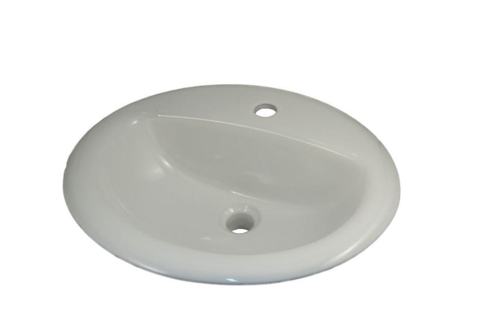 """Tradesman: Lavabo ovale style """"D"""", de dessus de comptoir (foré pour les robinets monobloc)"""