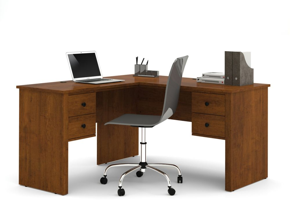 Somerville L-Shaped desk in Tuscany Brown