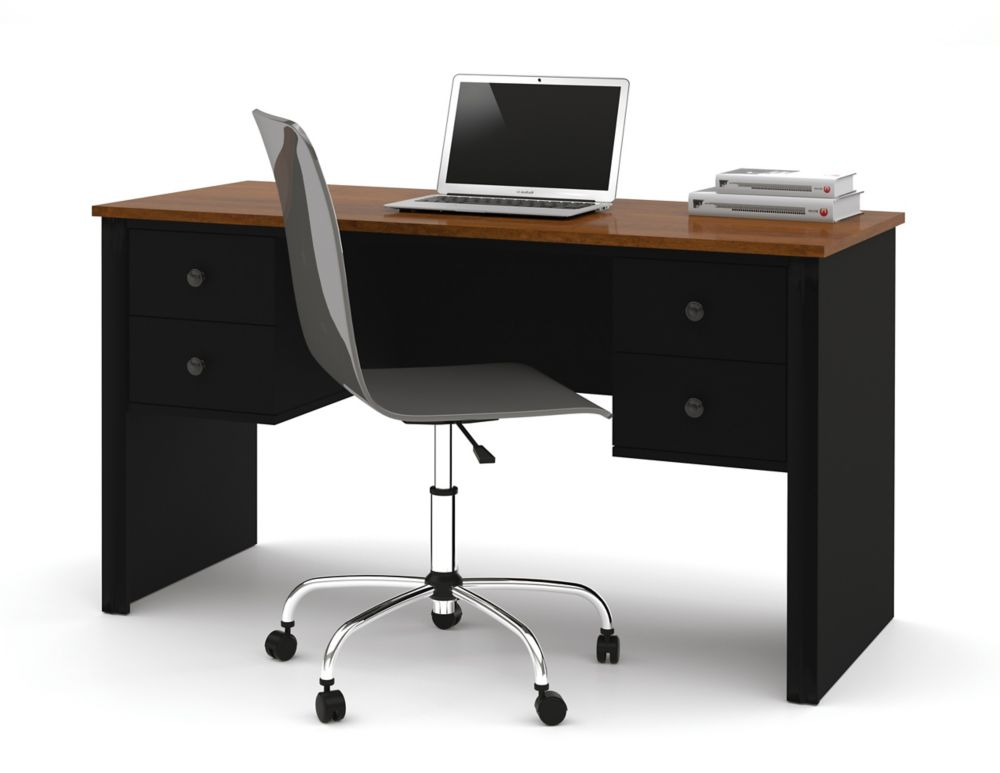 Somerville Executive desk with two pedestals in Black & Tuscany Brown