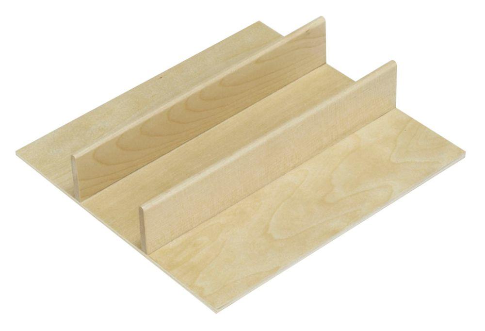 Demi-plateau à coutellerie en bois FindIT - 9,125 po x 8,5625 po x 1,875 po
