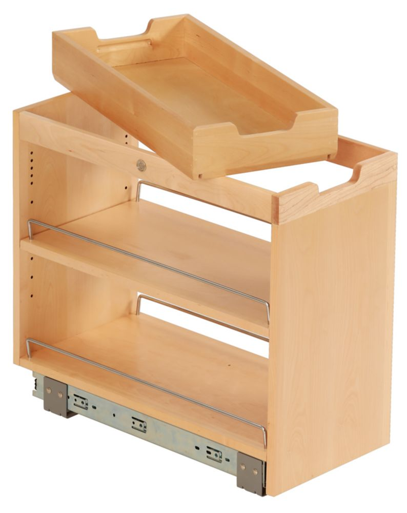Findit birch base cabinet organizer pullout with slide 10 3 4 x 19 1