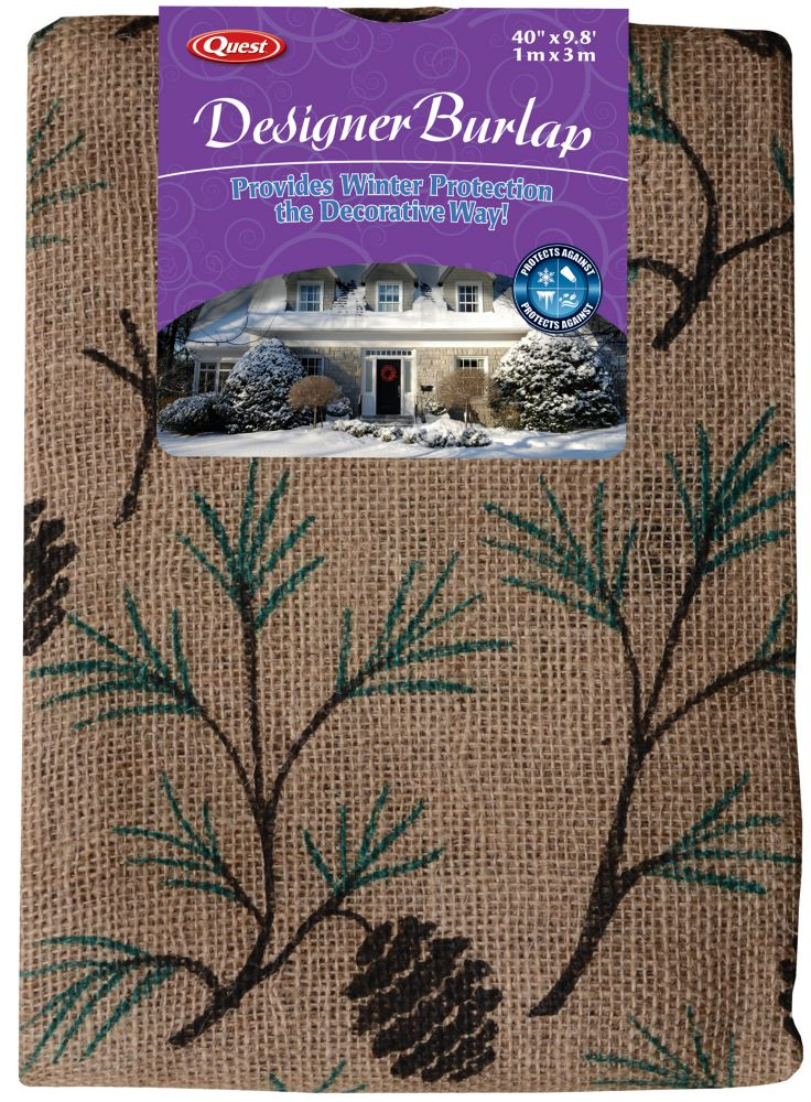40-inch x 9.8 ft. Printed Burlap in Branches Pattern