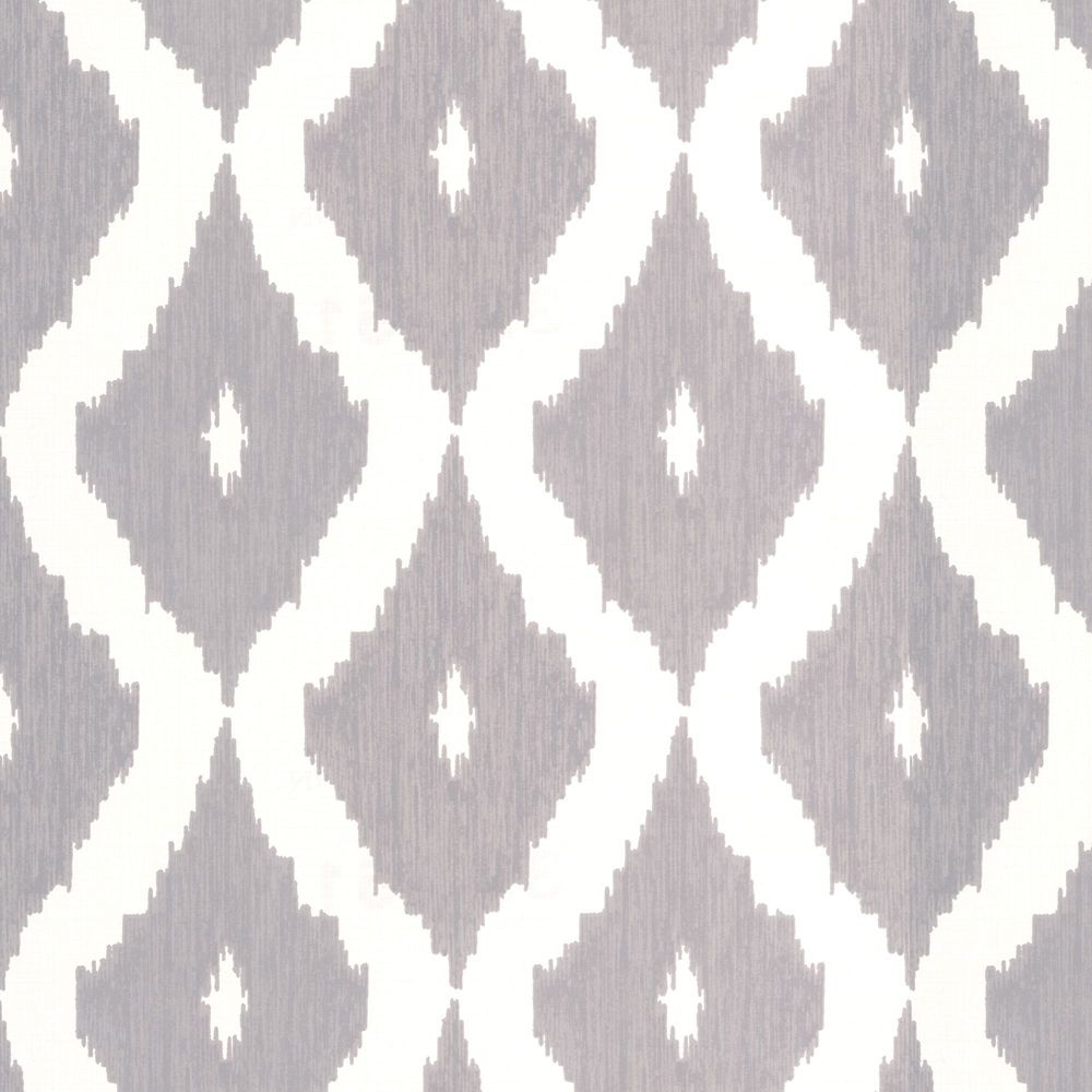 Kellys Ikat Grey/White Wallpaper