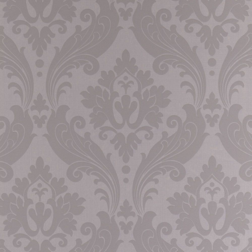 Vintage Flock Gray/Silver Wallpaper