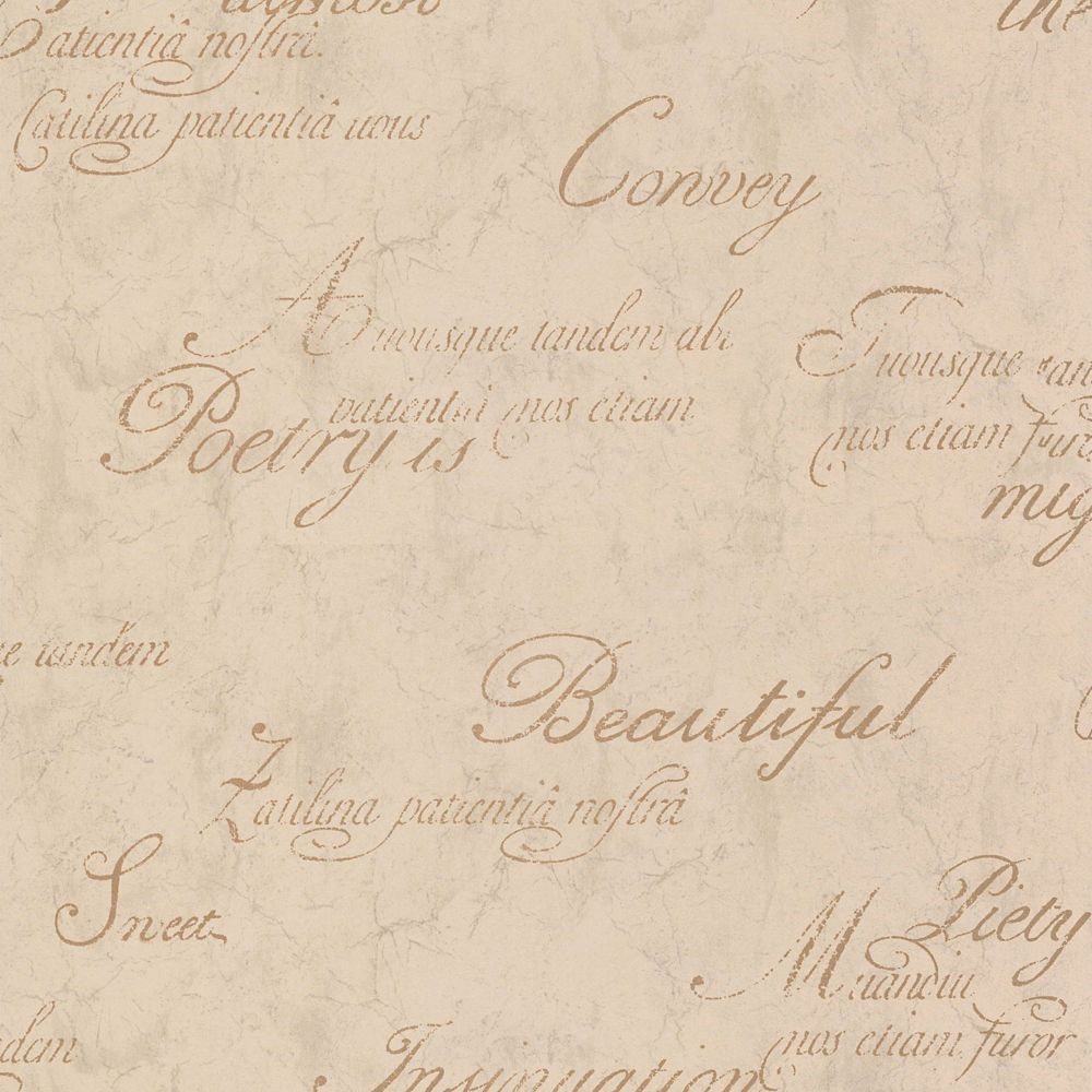 Concrete Script Beige/Gold Wallpaper