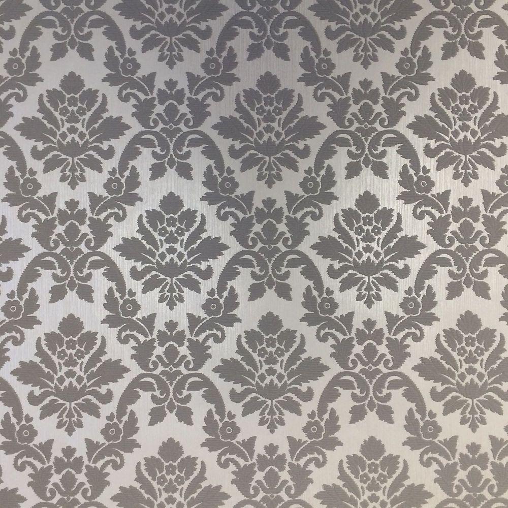 Graham Brown Damask Grey CreamWallpaper