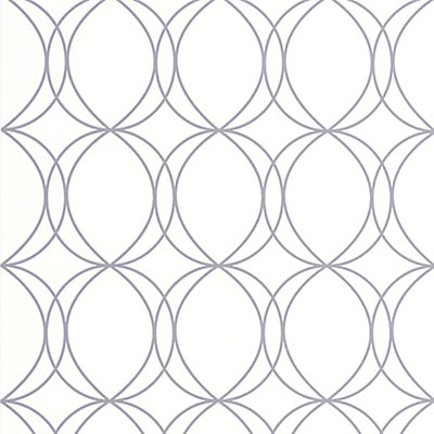 Graham Brown Halo Circles White Silver Wallpaper