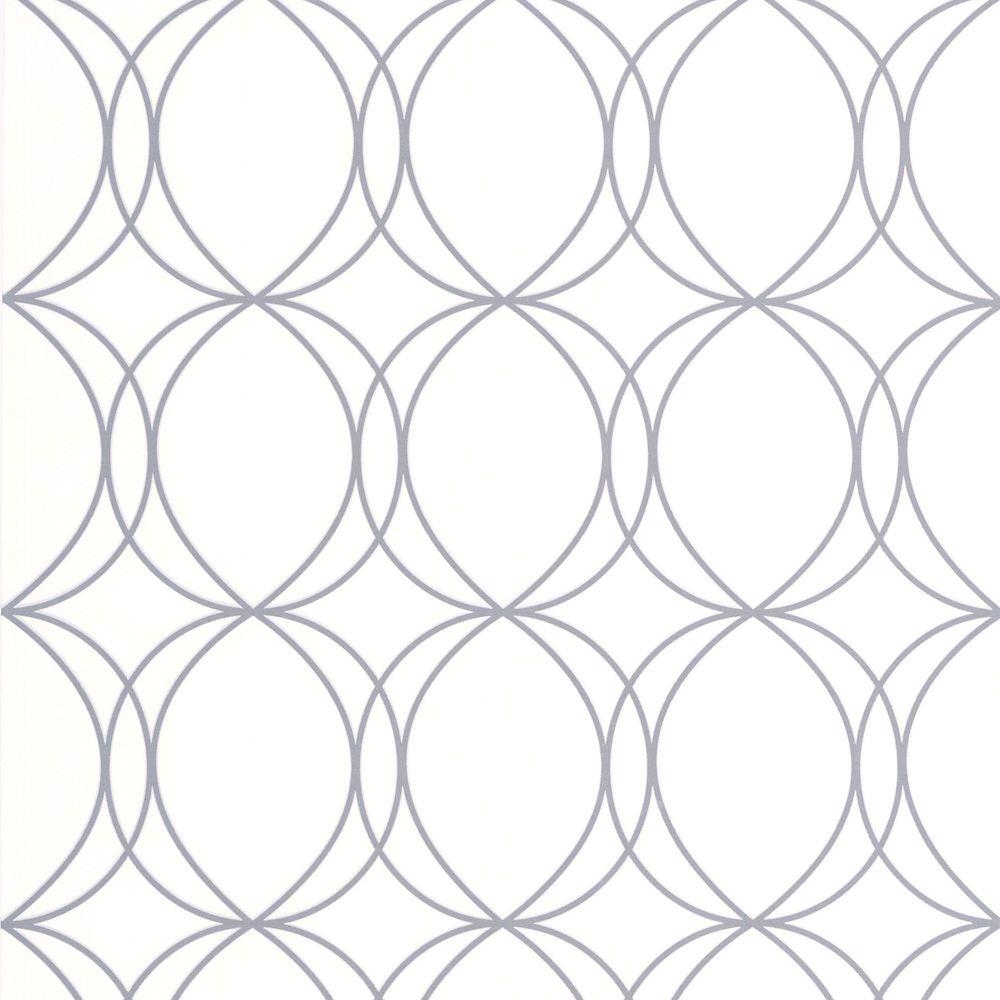 Halo Circles White/Silver Wallpaper