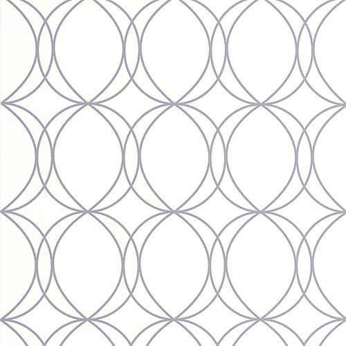 Graham & Brown Halo Circles White/Silver Wallpaper