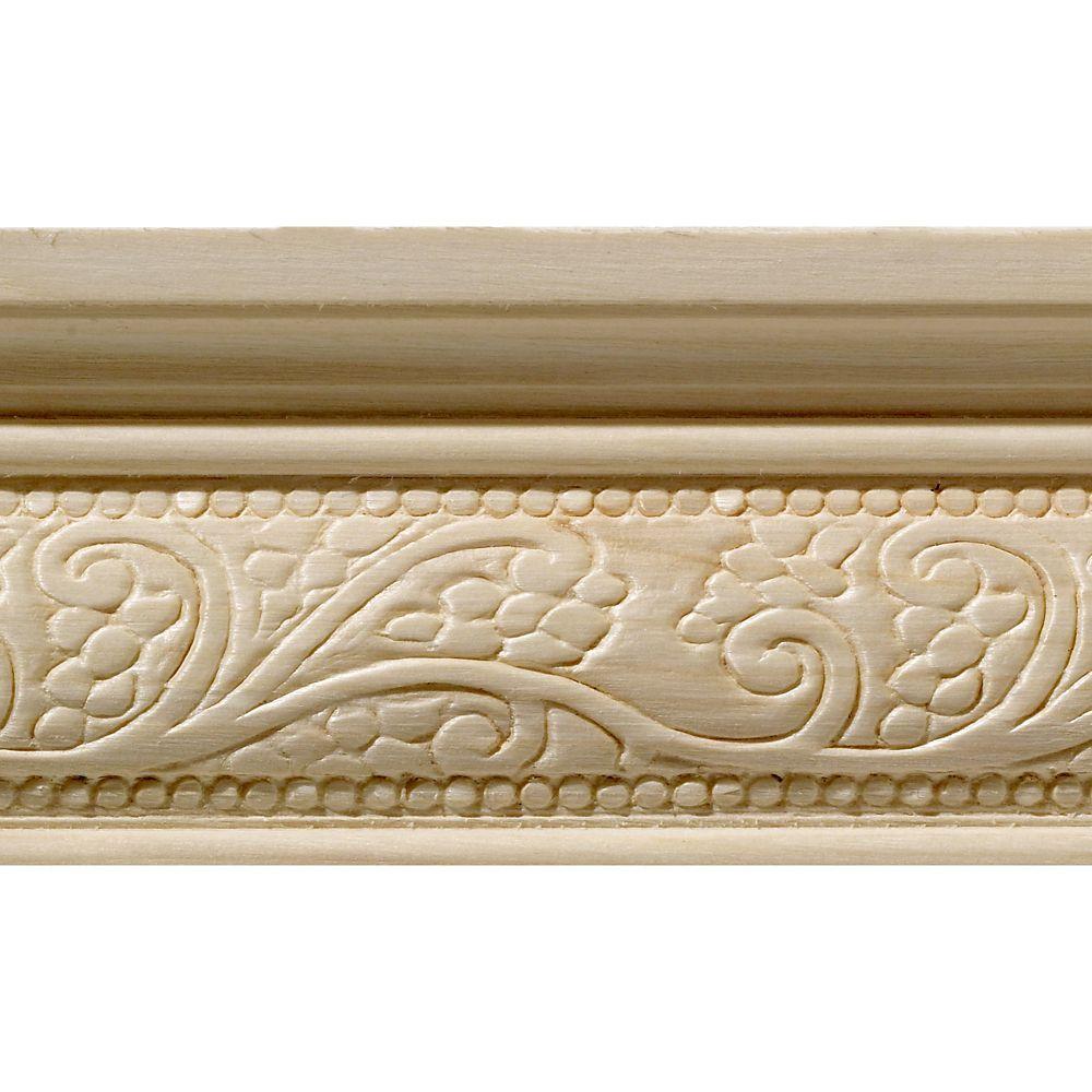 Blanche en bois dur, Fantaisie grande cimaise - 1/2 X 2-1/4 po - vendu par pièce de 2,44 m